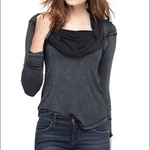 Free people distressed acid wash cowl neck blouse